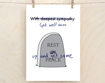 Funny Get Well Card Etsy