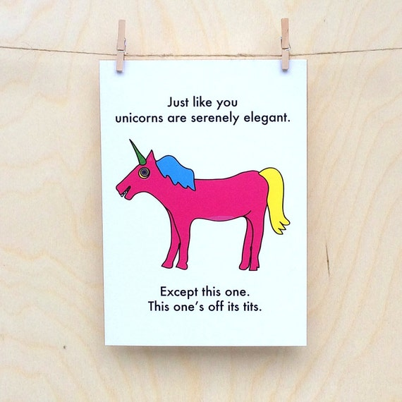 Funny Birthday card, funny card, funny Unicorn card