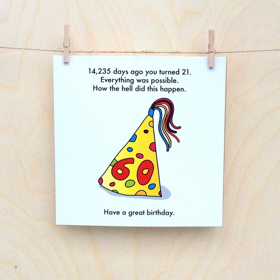 Funny 60th Birthday Card Funny Birthday Card Funny 60 Card