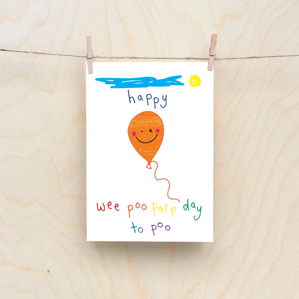 poopy balloon rude kids cards silly childrens cards toddler rude words card kids birthday card funny kids card funny birthday card - Funny Birthday Cards For Kids