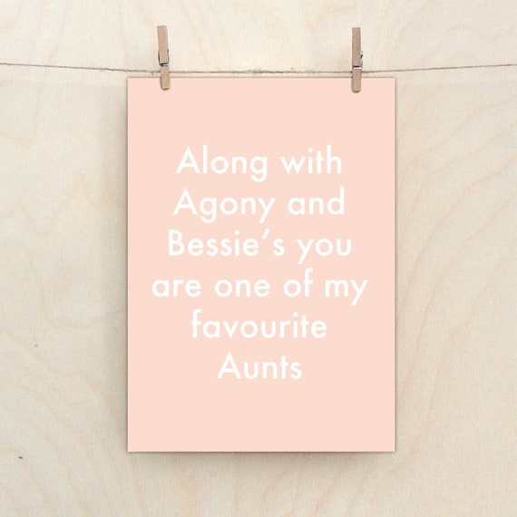Favourite Aunt Card,Funny  card, Funny birthday Card, Aunt.