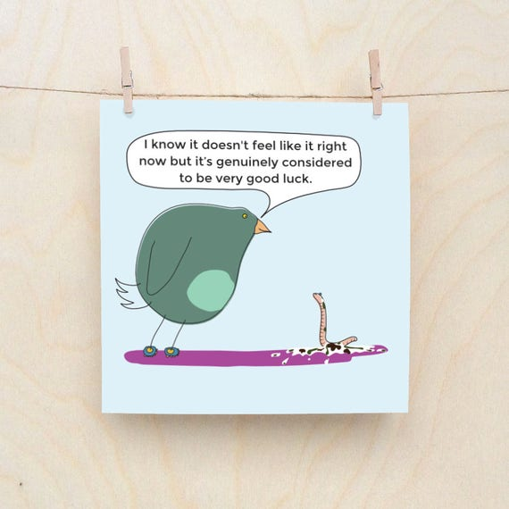 Lucky Bird Poo Cards, Funny Greetings card, Funny Good Luck Cards, Funny Birthday card, Funny Bird card