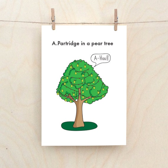 Alan Partridge card, Funny Christmas Card, A partridge in a pear tree, Funny 12 days of Christmas card