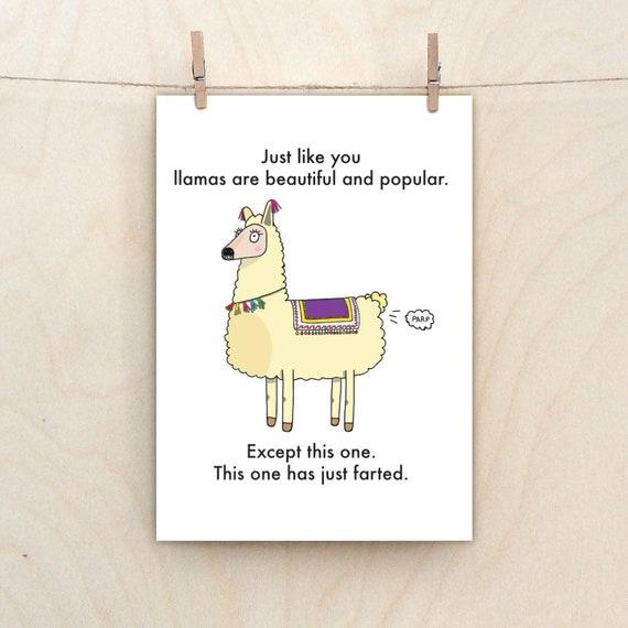 Funny Llama,Funny  card, Funny birthday Card, funny fart card