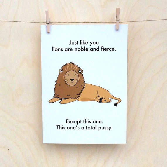 Funny Birthday card, funny card, funny lion card