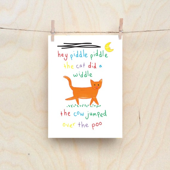 The cat jumped over the poo card, Rude kids cards, Silly Children's cards, Toddler rude words card, funny kids card. funny birthday card.