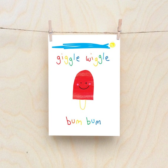 Bum Lolly Card, Rude kids cards, Silly Children's cards, Toddler rude words card. kids birthday card, funny kids card. funny birthday card.