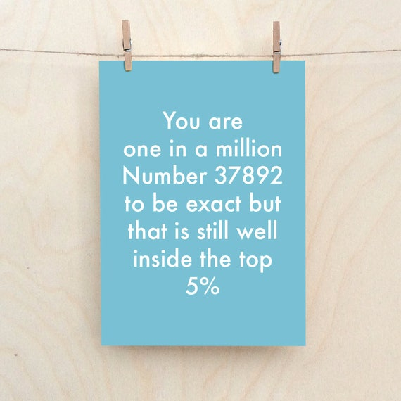 One In A Million Card, Funny love Card, Funny friend card,Rude Friend card