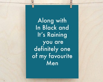 Favourite Men Card, Funny Love Card, Funny birthday card, funny Valentines card, Funny man card
