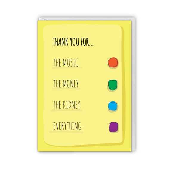 Funny greeting card, Thank you for the music