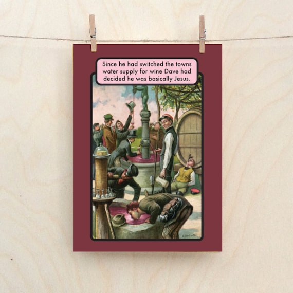 Funny wine card, Basically Jesus, funny birthday card.