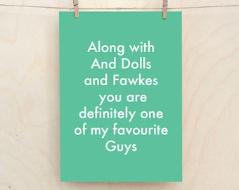 Favourite Guys Card, Funny Love Card, Funny birthday card, funny Valentines card, Funny man card