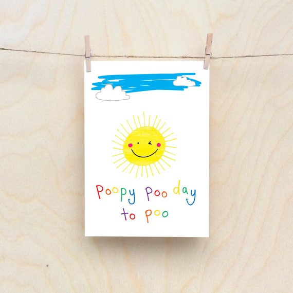 Marvelous Poopy Sun Card Rude Kids Cards Silly Childrens Cards Etsy Funny Birthday Cards Online Eattedamsfinfo