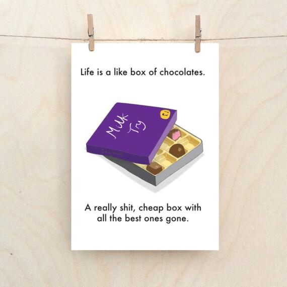 Shit box of chocolates, sympathy card, funny sympathy.