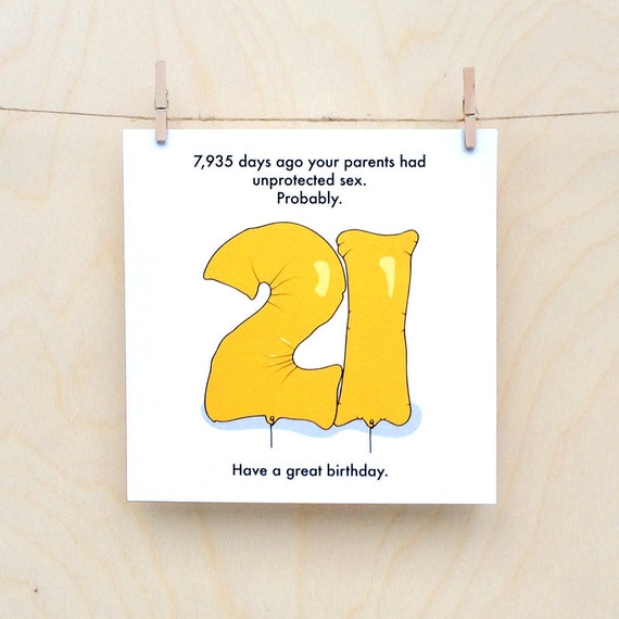 Funny 21st birthday card, funny 21, birthday card