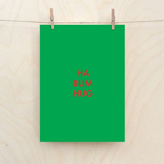 Ha Bum Hug card, Funny Christmas card