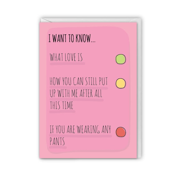 Funny greeting card, I want to know