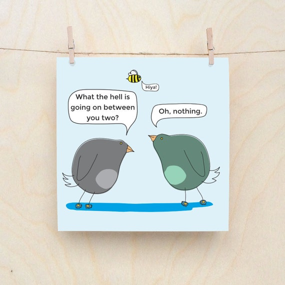 Birds and bees, Funny Greetings card, Funny Love card, Funny Bird card, Funny Bee card,