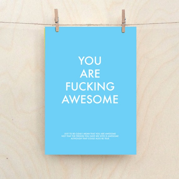 You are fucking Awesome, friend card,Funny love Card