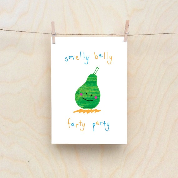 Party Pear Card, Rude kids cards, Silly Children's cards, Toddler rude words card. kids birthday card, funny kids card. funny birthday card.