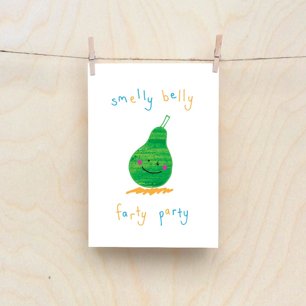 Awe Inspiring Party Pear Card Rude Kids Cards Silly Childrens Cards Toddler Funny Birthday Cards Online Eattedamsfinfo