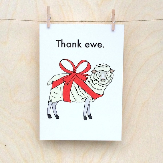 Thank Ewe Card, Funny thank you card, funny sheep card, funny card