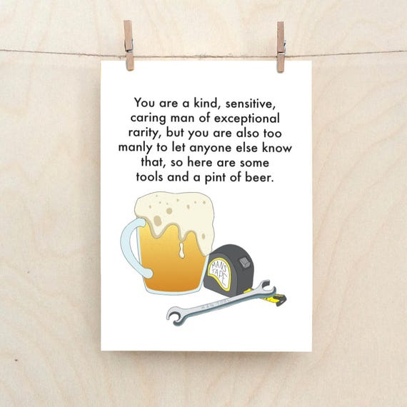 Funny Man Card, Funny Birthday card, funny card