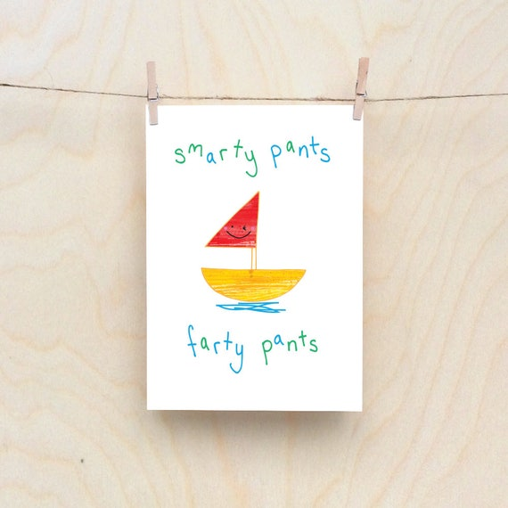 Fart boat Card, Rude kids cards, Silly Children's cards, Toddler rude words card. kids birthday card, funny kids card. funny birthday card.