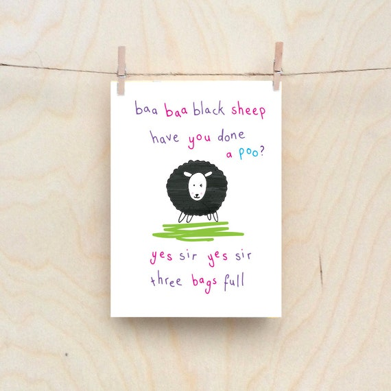 baa baa black sheep card, Rude kids cards, Silly Children's cards, Toddler rude words card, funny kids card. funny birthday card.