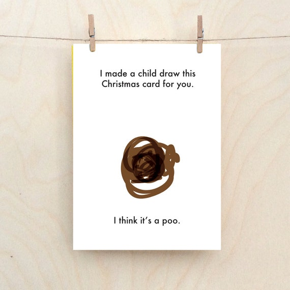 Christmas poo card, child's Christmas card, Funny Christmas card