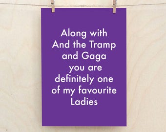Favourite Ladies Card, Funny Love Card, Funny birthday card, funny Valentines card, Funny lady card