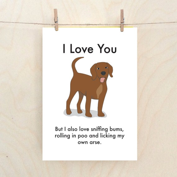 Funny Dog Card, Funny Love card, Funny Valentine Card