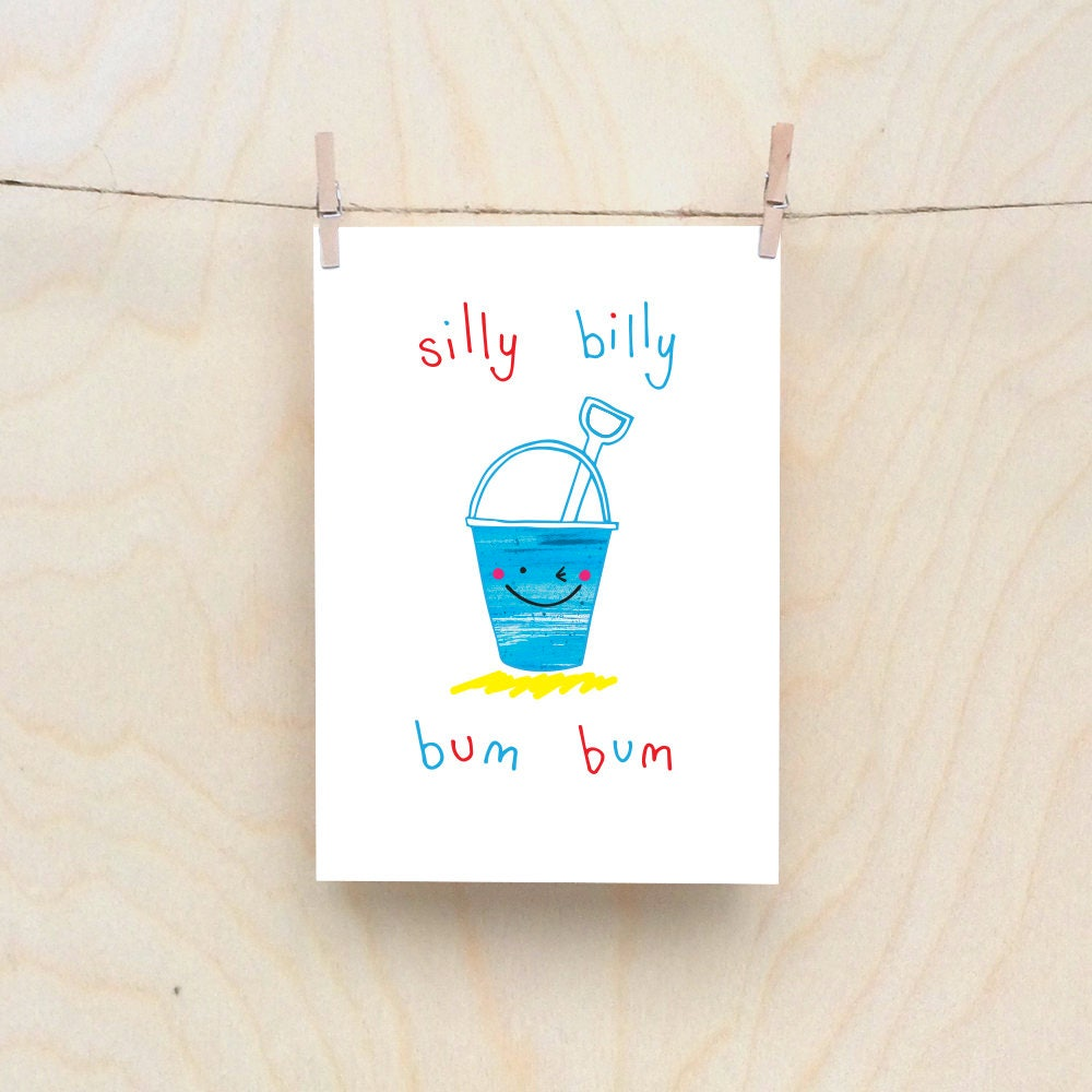 bum bucket card rude kids cards silly childrens cards toddler rude words card kids birthday card funny kids card funny birthday card - Funny Birthday Cards For Kids
