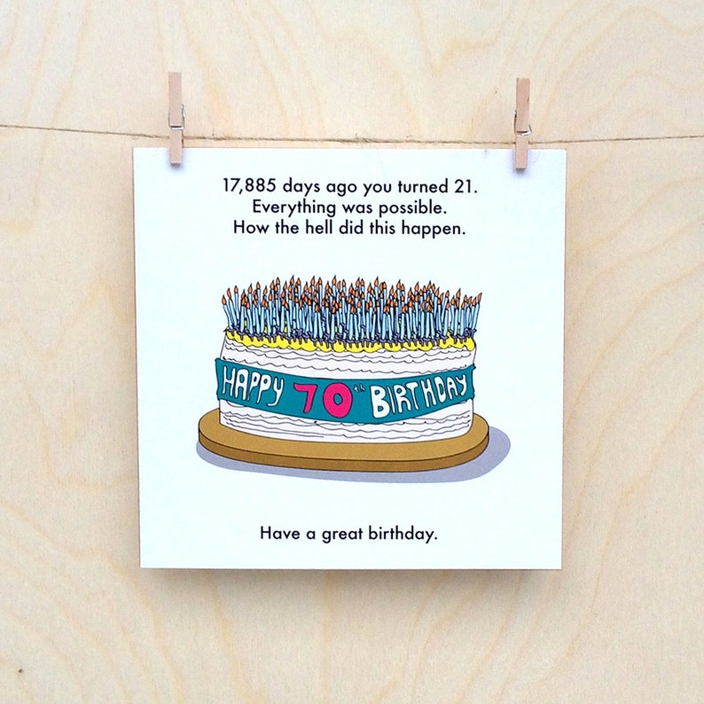 70 Birthday Card 70th Funny