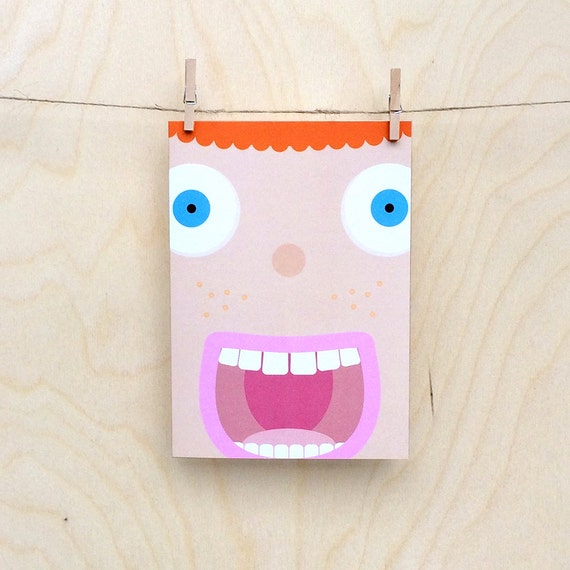 funny freckle face card, cute face card, child's face card, kids face card, kids birthday card