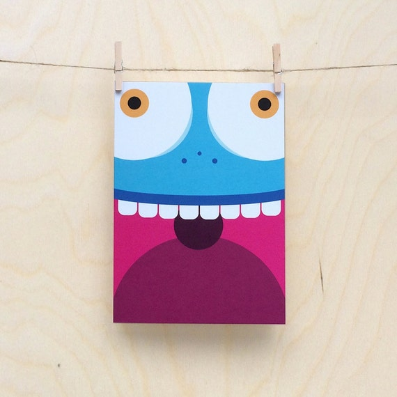 funny monster card, cute monster card, child's monster card, kids monster card