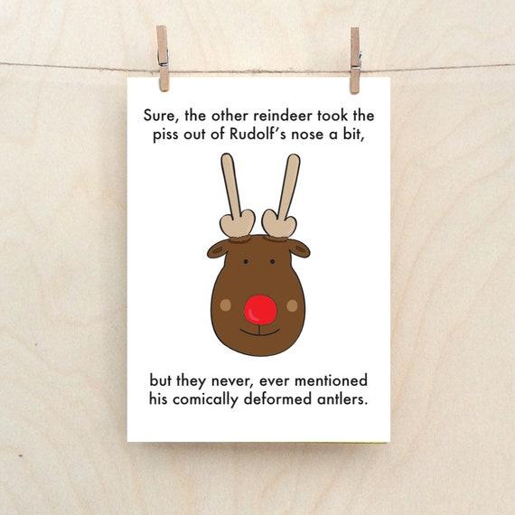 Rudolf card, Funny Rudolf Card, Deformed antlers, Funny Christmas card
