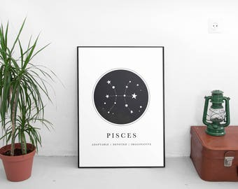Zodiac Gift, Pisces Gift, Pisces Printable, Pisces Art, Constellation, Horoscope Gifts,Astrology Gifts Pisces, Pisces Art Prints, Star Sign