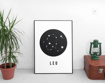 Printable Art, Zodiac,Printable Wall Art,Leo Star Sign,Leo Zodiac,Zodiac Leo, Leo Constellation Print, Zodiac Print, Zodiac Art Print,Poster