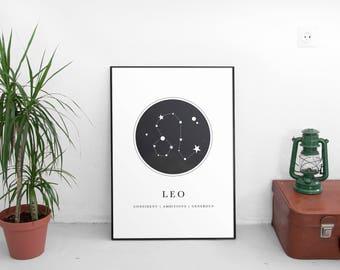 Zodiac Gift Leo,Leo Gift For Women,Leo Gift For Men,Horoscope Gifts Leo,Astrology Gifts Leo,Leo Art Prints,Star Sign