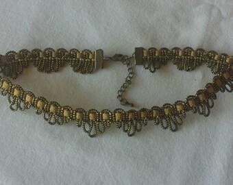 Black and Gold Metallic Lace Choker