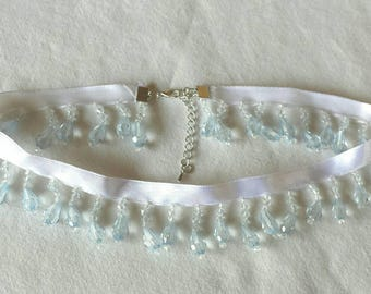 Beaded White Satin Ribbon Choker