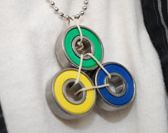 Skate Bearing Necklace Brazil Colors - Skateboard Jewelry Made From Recycled Materials - Great Brazil gift - Skateboarder Gift - Hemp String