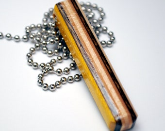 Upcycled Skateboard Necklace - Necklace made from Recycled Wood Skate Deck - Yellow Brown Necklace - Bar Necklace - Unique Jewelry - Limited