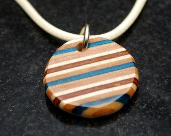 """Skateboard Wood Necklace - Recycled Skate Jewelry """"The Strand"""" - Circle Necklace for Men & Women - Upcycled Beachy Surf Skater Gift Unique"""