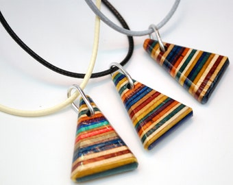 Recycled Skate Necklace - Wood Necklace Upcycled from Broken Skateboard Decks - Rainbow Necklace - Colorful Jewelry - Triangle Necklace