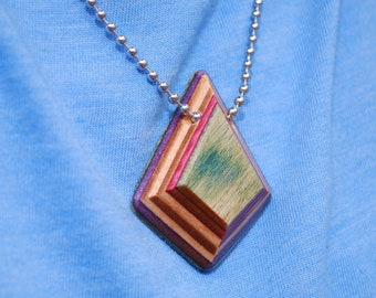 Wood Necklace Made from Upcycled Skateboards - Teardrop Diamond Pendant Necklace Handcrafted from Recycled Skate Decks - Upcycled Jewelry