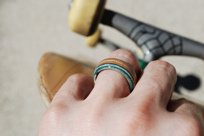 b3acfcde613 Recycled Skateboard Ring Necklace Chain Wood Ring