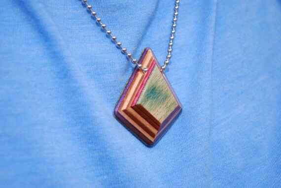 37b465d7de6 Recycled Skateboard Wood Pendant Necklace Made from recycled