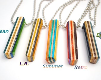 Skateboard Pattern Bar Necklace - Upcycled Multicolor Necklace made from Recycled Skateboards - Reclaimed Wood Jewelry for Men, Women, Teens